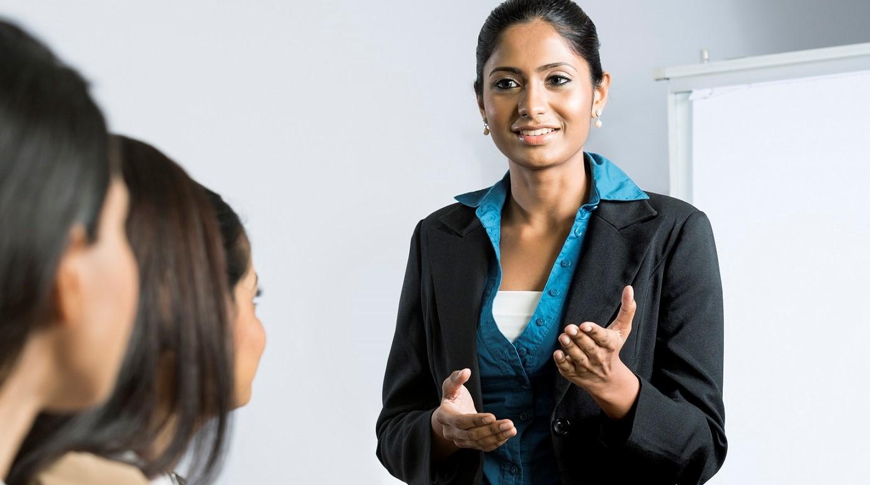Confident lady presenter